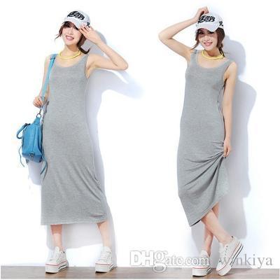 Summer women dress Sleeveless O neck Modal long dresses vest Large size Solid color designer dress 2019 new Europe Beach vestidos