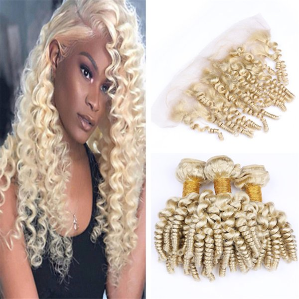 Bouncy Curly 613 Blonde Human Hair Bundles with Frontal Closure Aunty Funmi Curly Spiral Curls Human Hair Weaves with Lace Frontal