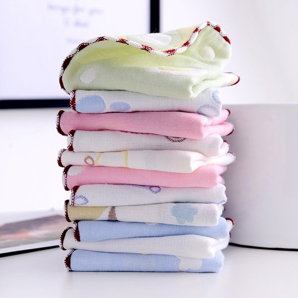 Muslin baby towel Newborns 6 Layers Gauze 25*25CM Cotton Bath towel Saliva Feeding Slobber Towels Kids Handkerchiefs F10