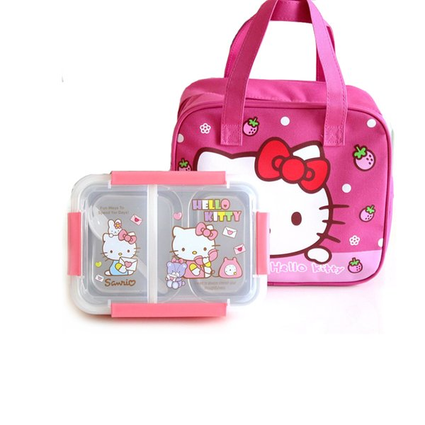 Hello Kitty Pokonyan Cartoon Kids Student Lunch Box 304 Stainless Steel Picnic Bento Box Thermal Portable Food Container Plastic C18112301
