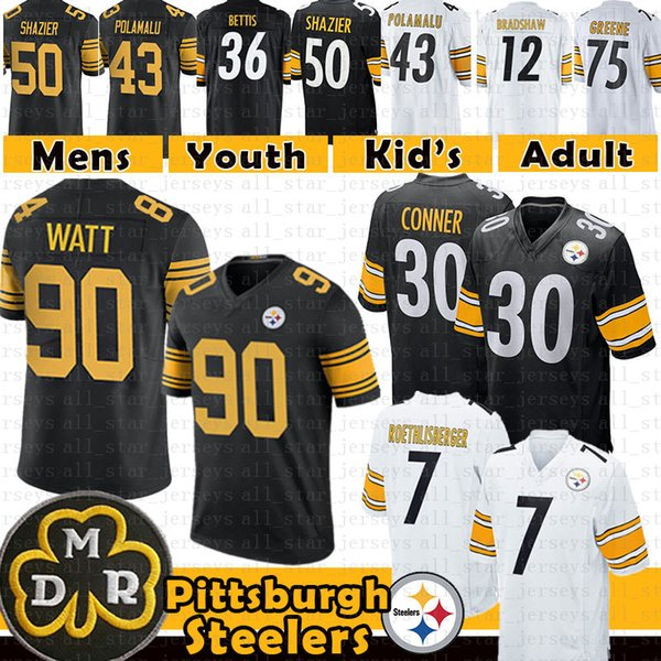 sports shoes 0323c f2cf3 2019 90 T.J. Watt 7 Ben Roethlisberger Pittsburgh Jersey Steelers 30 James  Conner 50 Ryan Shazier 43 Troy Polamalu 36 Bettis Bradshaw 75 Greene From  ...