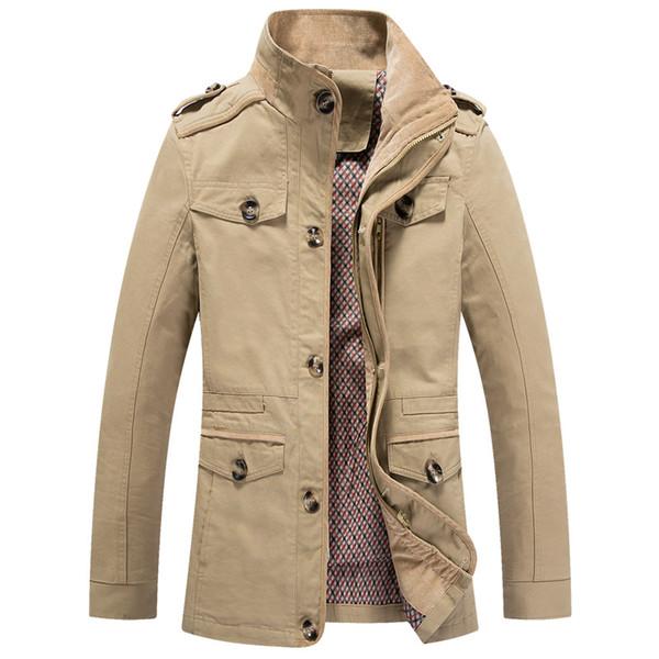 2019 New Autumn Bomber Men's Jacket Male Overcoat Casual Solid Jacket Slim Fit Stand Collar Zipper Men Trench Coat Oversized 4XL