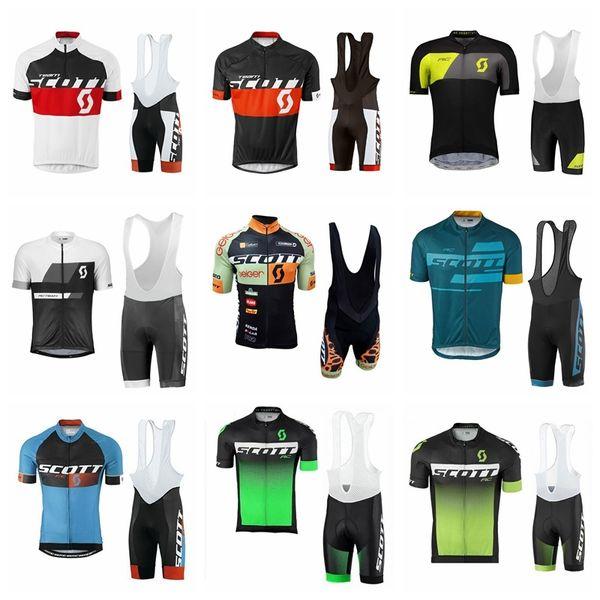 SCOTT equipe Ciclismo Mangas Curtas jersey (babador) shorts conjuntos 2019 mens quick-dry Roupas maillot mountain bike Gel Acolchoado 012813F