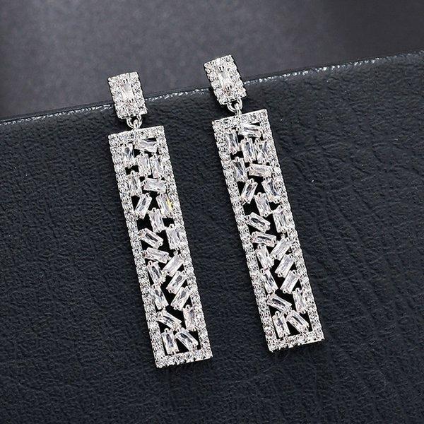 Orecchini in argento 925 con rettangoli di forma irregolare con pietre preziose di zirconio CZ per feste e matrimoni