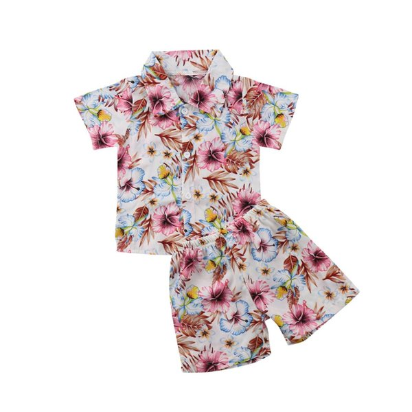 2PCS Toddler Infant Kid Baby Boys T-shirt Tops Pants Summer Beach Outfits Clothes
