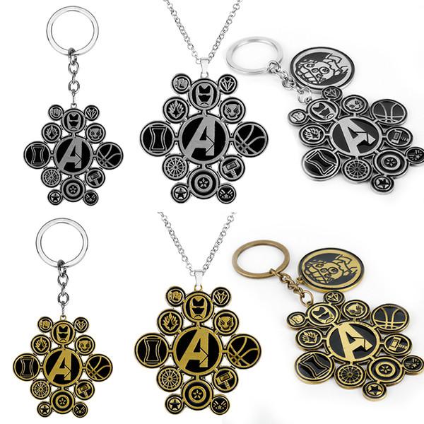 Marvel 4 Le Logo Thanos Gants Collier Noir En Métal Pendentif Ventilateurs Cadeau Hommes Voiture Porte-clés -30