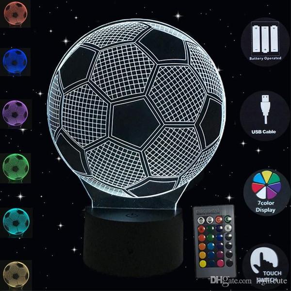 Grosshandel 3d Nachtlicht Fussball Led Lampe Der Noten Sensor Luminaria Tischlampe 7 Farben Illusion Schreibtischlampe Fussball Form Schlafzimmer