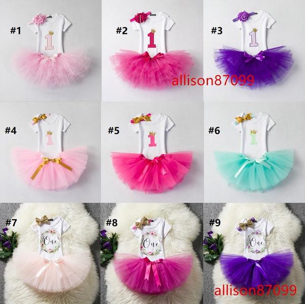 18 Deisngs Ins Baby infant 1st Birthday Outfits Clothing set Summer Short sleeve Romper Onesies+Tutu skirt+Headband 3pcs/set