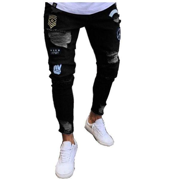 Jeans strappati distrutti da uomo Jeans strappati strappati skinny slim fit Jeans aderenti in denim Pantaloni con cerniera