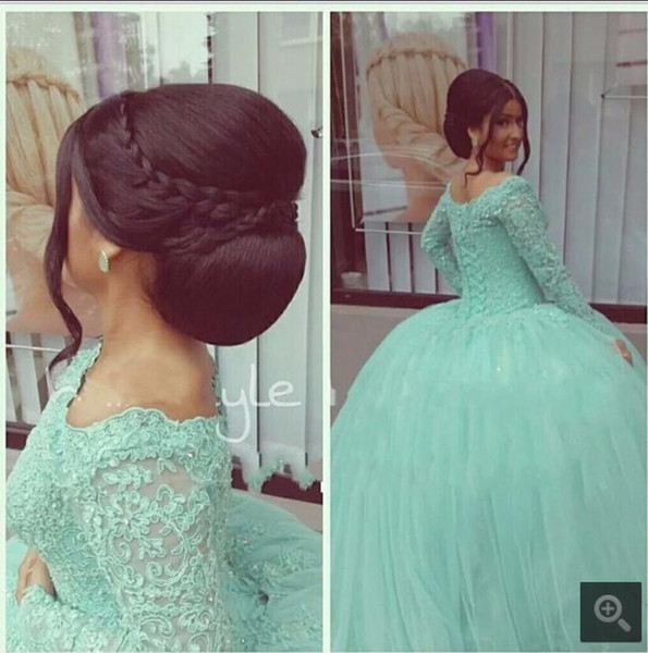 Vintage Mint Green Quinceanera Dresses For 15 Years Scoop Neck Appliques Lace Ball Gown Cheap Quinceanera Gowns long sleeve Prom Dresses