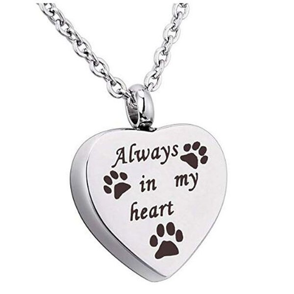 Sempre nel mio cuore Pet Cremation Urn Necklace Dog Ash Jewelry Memorial Keepsake Pendant
