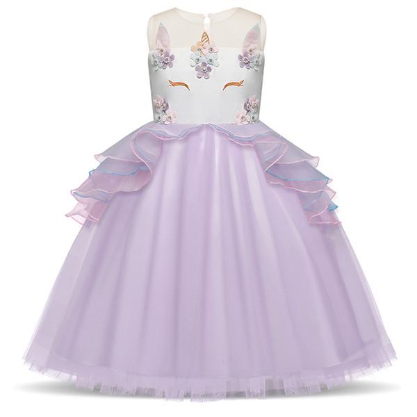 Compre Vestido Unicornio Para Niñas Bordado 5 6 7 Años De Adolescencia Del Niño Princesa Del Traje Vestidos De Baile Vestido De Cosplay Halloween Girl