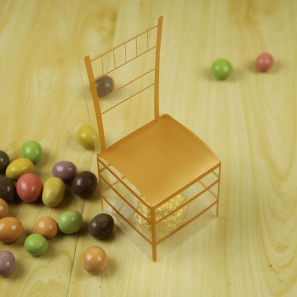 Regalo del estilo europeo silla del oro de PVC caja del caramelo de la caja del caramelo Real Cátedra boda Retorno Fabricantes de Venta Directa