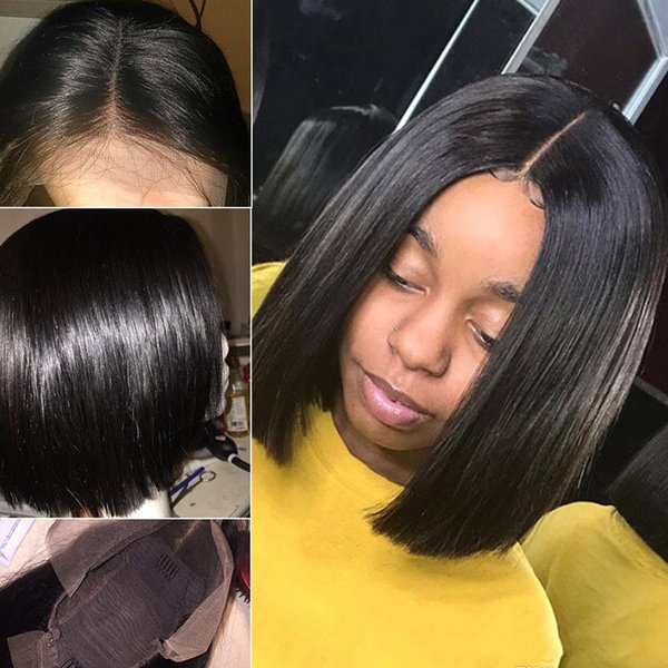 Short Bob Wigs For Black Women Remy short bob wigs human hair straight 13x4 Lace front Bob Wig pre plucked bleached knots grace xbl doheroin