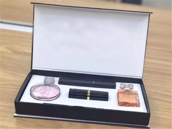 New discount makeup set Collection Perfume lipstick eyebrow pencil mascara 5 in 1 cosmetic kit with Gift Box free shipping.