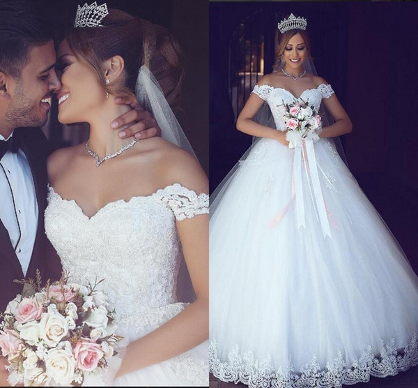 Elegant Off the Shoulder Ball Gown Wedding Dresses Lace Appliqued Capped Sleeves Floor Length Custom Made Garden Wedding Bridal Gown