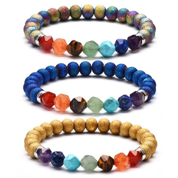 Natural stone cut energy crystal bracelet Yoga chakra agate plated hand string 5 colors free shipping