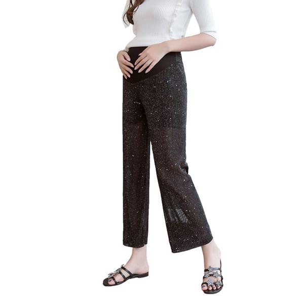 2019 Estate Moda Donna incinta Paillettes traspiranti Pantaloni di pancia Vita regolabile Pantaloni dritti di maternità Pantaloni da donna per ufficio
