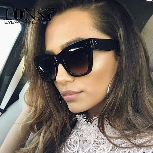 LONSY Moda de Alta Calidad gafas de Sol Cuadradas Mujeres Diseñador de la Marca Vintage Mujer Damas Gafas de Sol Mujeres oculos UV400 CJ9768