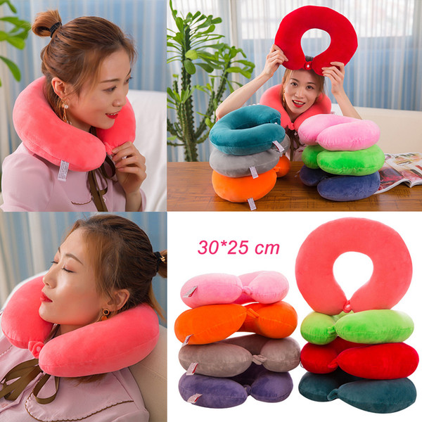 top popular Hot U-shaped Neck Support Pillow Work Head Rest Travel Airplane Sleep Cushion 2019