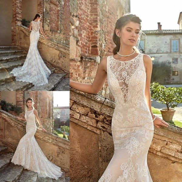 Eddy K 2019 Castle Mermaid Wedding Dresses Full Lace Appliqued Covered Button Sexy Illusion Back Bridal Gowns Garden Beach Boho Bride Dress