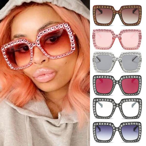 New Hot Sunglasses women Womens Fashion Artificial Diamond Cat Ear Quadrate Metal Frame Brand Classic 2019