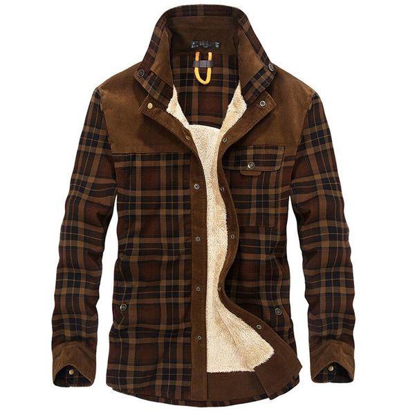 100% Cotton Liner Fleece Casual Shirt Men Winter Thick Wool Turn Down Plaid Shirts Coat Men's Long Sleeve Shirt Military Jackets T4190617