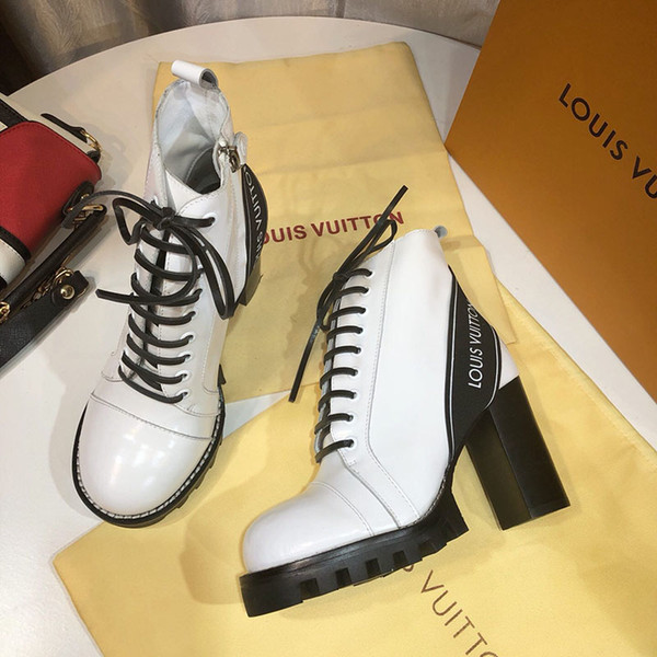 Fashion boots 2020 new ladies winter booties high quality Martin boots high heel Ankle Boots Leather printing antiskid combat boot