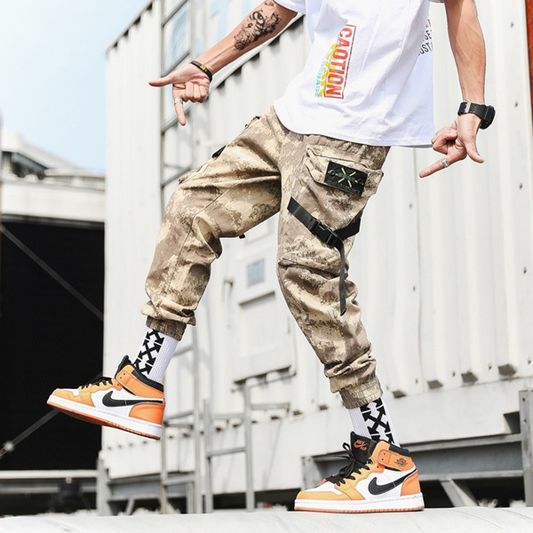 Streetwear Harem Joggers Men Ribbons Side-pockets Camouflage Mens Trousers Casual Slim Cargo Pants For Man