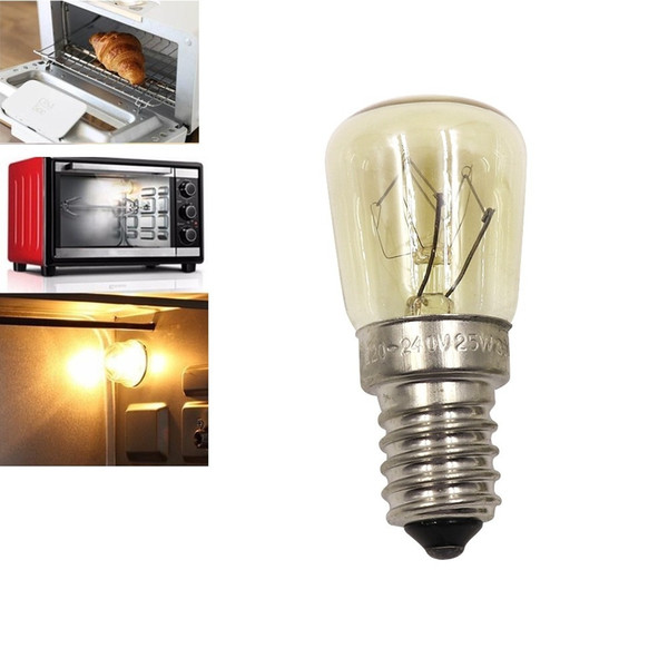 Oven Light Bulb E14 25W High Temperature 300 Degree Yellow Toaster Tungsten Filament Bulb with High Temperature Resistance Bulb