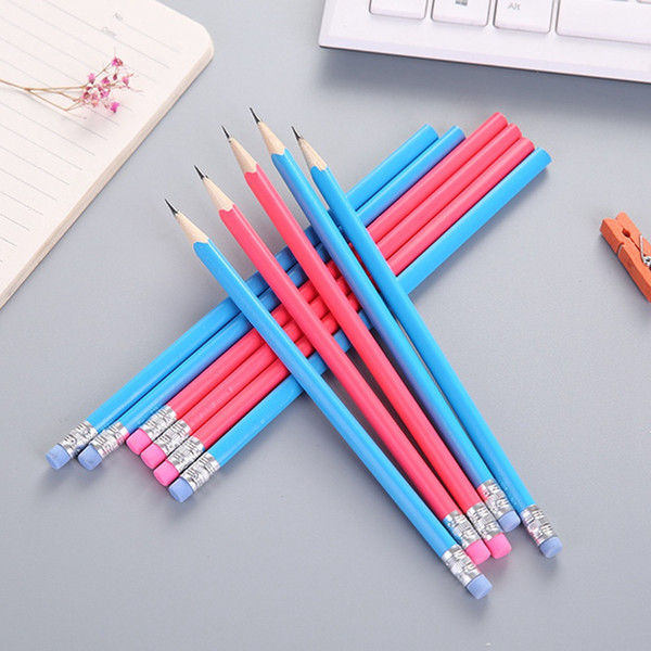 1pc Candy Color Wooden pencils HB pencil with Eraser Head Erasable pens for School Writing And Painting Stationery