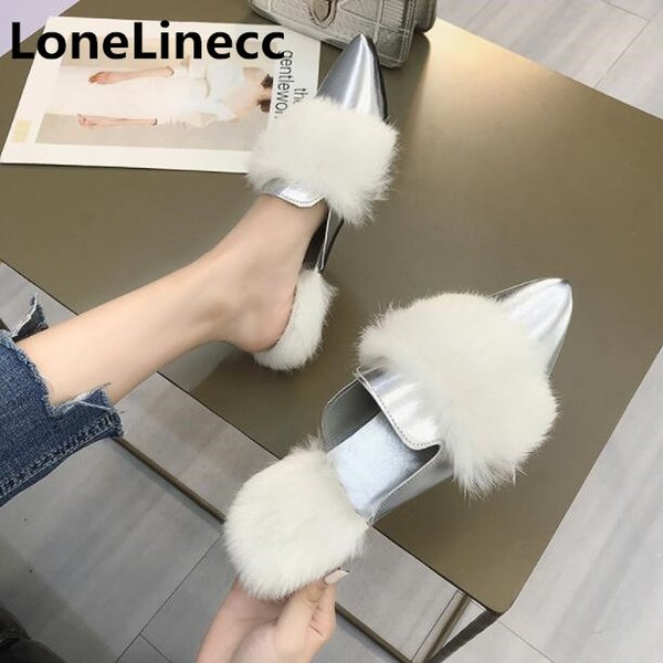 Slippers women Winter Fur slippers plush Pointed Toe flat shoes women Muller shoes woman Loafers Half slipper ladies