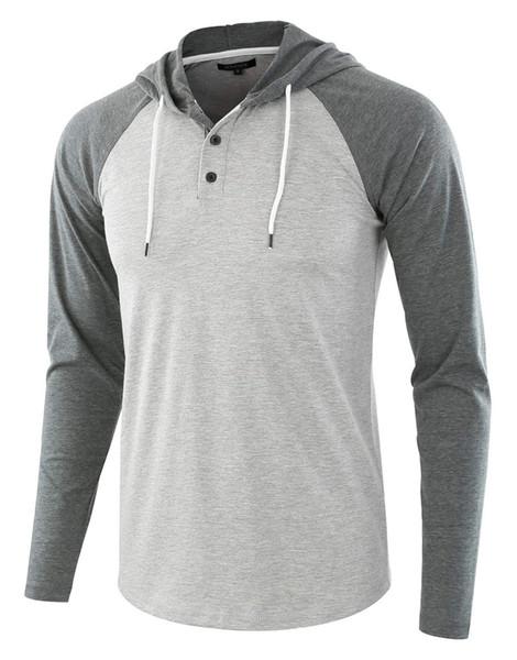 Hombres Nueva manera de las camisas de manga larga Casual Otoño Top camisetas para hombre de las sudaderas con capucha de los hombres camisetas de la manera Ropa para Hombres Streetwear B100957KP