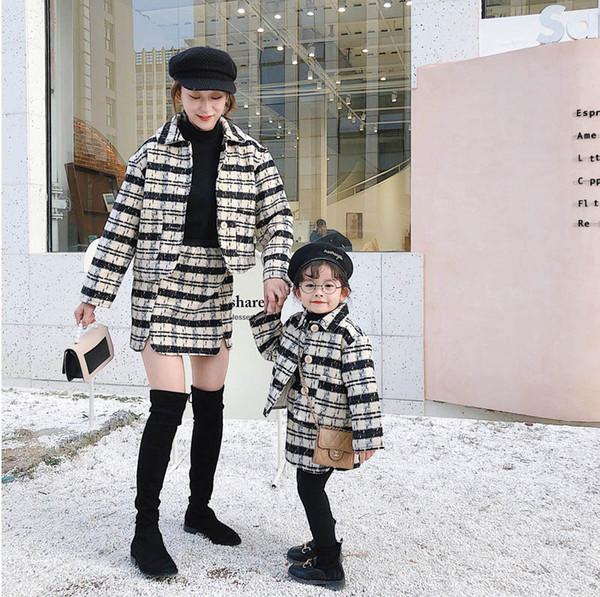 Mode de correspondance de la famille de laine mère et fille Complets 2pcs Coats + / set maman et sa fille de A9727 de la correspondance