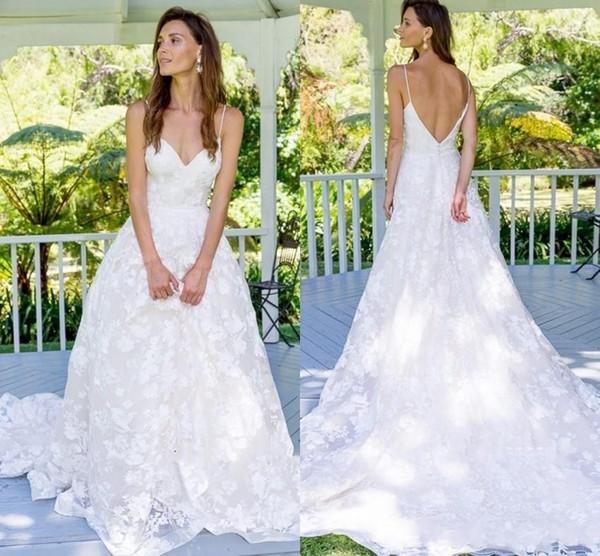New Arrival 2019 Summer Garden A Line Empire Waist Wedding Dresses EK Sexy Open Low Back Appliqued Floor Length Boho Bridal Gowns