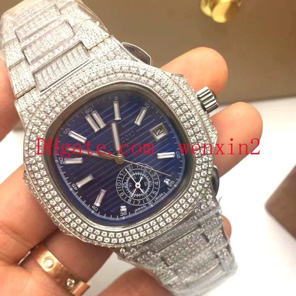9 Color Luxury Watch 2813 Automatic With Iced President Rose Gold Watches Men Rose Gold Dial Diamond Bezel women watches Acrylic long dial