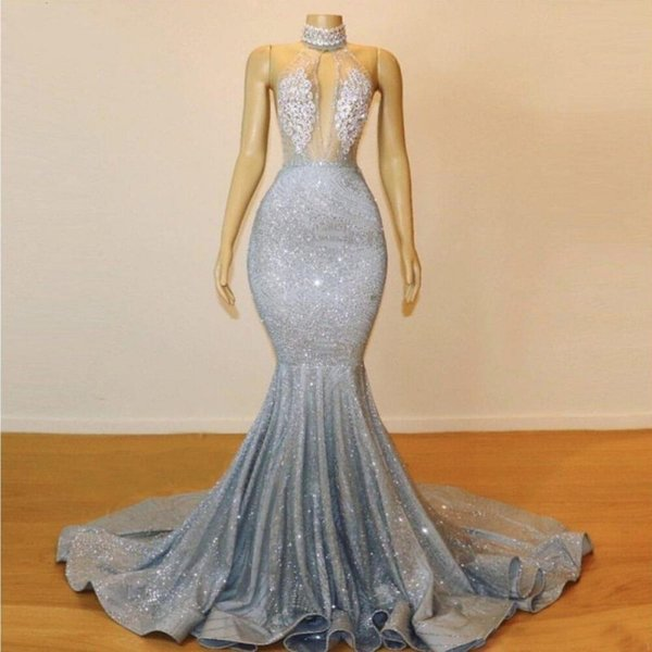 Sexy Sparkle Fabric Backless Prom Dresses Halter Lace Beaded Crystal Long Mermaid Evening Gowns Saudi Arabic Formal Party Gowns Cheap