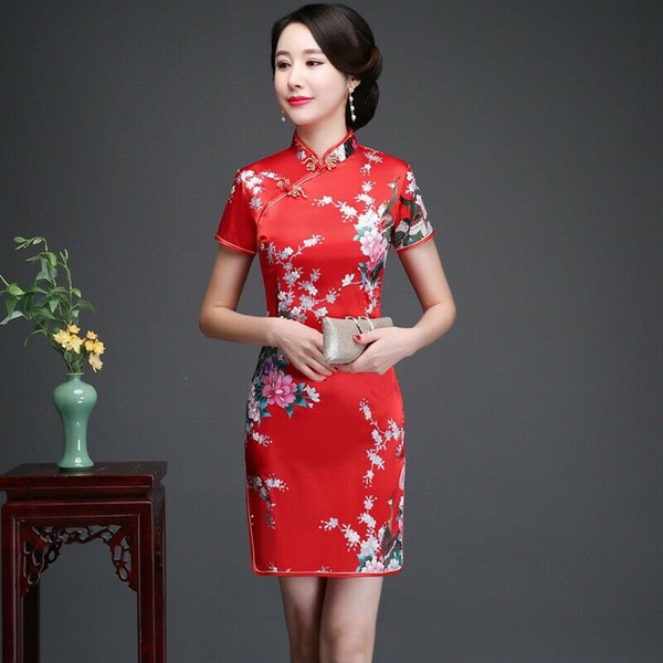 12colors Chinese Traditional Costumes Women Tight Bodycon Dress Cheongsam Tang Suit Peacock&flowers Print Split wedding qipao