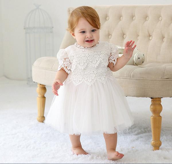 Großhandel Neugeborenes Baby Hohl Taufe Kleid 2019 Taufkleid Mädchen Party Infant Princess Hochzeit Kleid Baby Kleidung Kurzarm Tutu Kleid Von