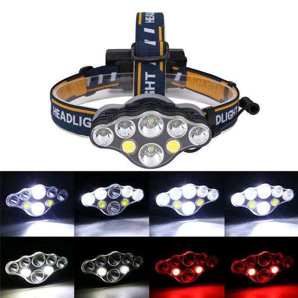 40000LM faro T6 + COB LED rosso lampada frontale USB Rechargeabl testa luce 8 Modalità Lanterna Illuminazione Torcia Flashlight per campeggio