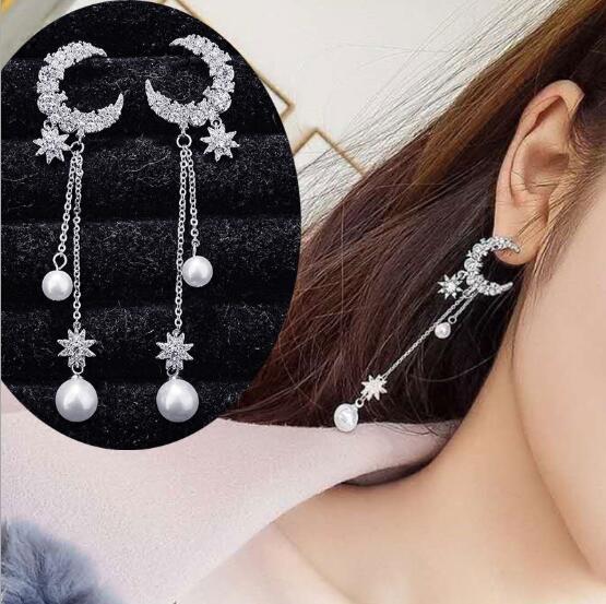 Bling Bling vendita calda 925 sterling silver Star and Moon Set orecchini con strass lunga perla nappa orecchini E5378