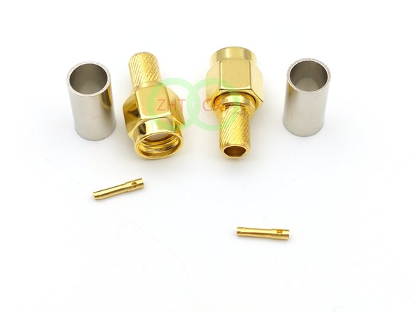 1000pcs adapter Gold plated RP-SMA male plug jack crimp for RG58 RG142 LMR195 RF