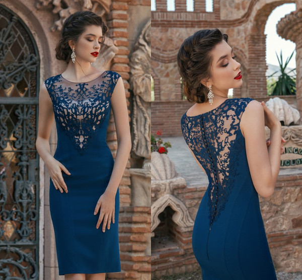 Navy Blue Mother Of The Bride Dresses Lace Sleeveless Satin Knee Length  Plus Size Mothers Prom Evening Gowns Wedding Party Guest Formal Wear Mother  Of ...