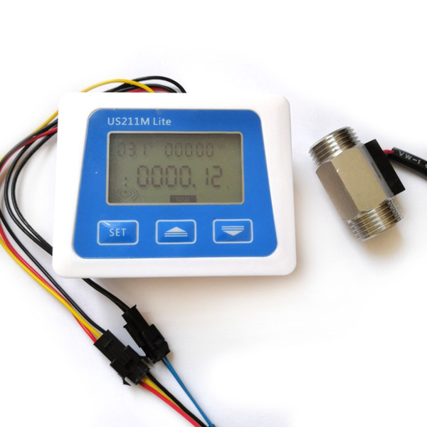 Digital Flow Meter Stainless Steel Flow Sensor 1/2 inch Temperature Sensor