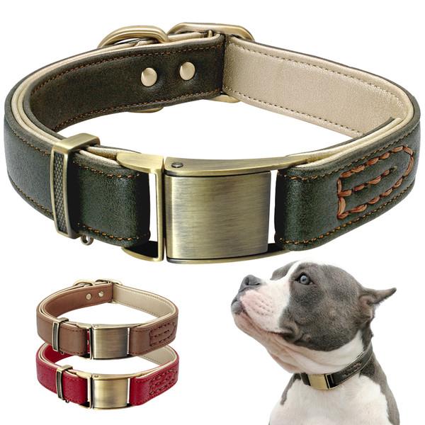 Coleira de cachorro de Couro Genuíno de Estimação Coleira Para Pitbull Durable Ajustável Cães Coleiras Para Pequenos Cães de Médio Verde Vermelho marrom
