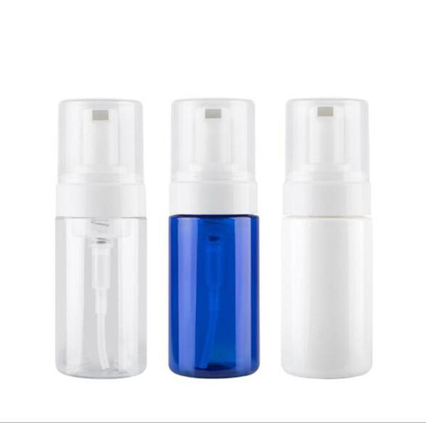 100ml 150ml mousse schiuma schiuma bottiglia detergente viso emulsione bottiglia trasparente bianco blu PET bottiglia di plastica pompa contenitore contenitore cosmetico