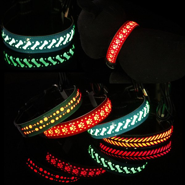 Cat Dog Chain Carved Flower Cortex Led Lighting Night Flashing Pet Collar Accessories S M L AAA1938