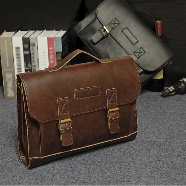 Nice Large Capacity Mens Briefcase High Quality PU Leather Male Shoulder Bag Brown Big Men Messenger Bag For Business Working