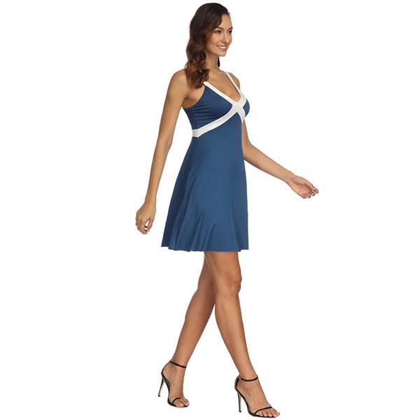 Mini abito blu senza maniche con scollo a V Donna Sexy Ultimi disegni Fantasia Estate Abbigliamento quotidiano Abbigliamento Abito corto in poliestere
