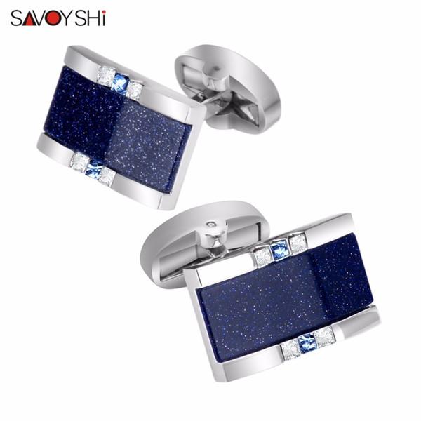 Savoyshi Low-key Luxury Star Stone Cufflinks For Mens Shirt Brand Cuff Bottons High Quality Square Cufflinks Gift Men Jewelry SH190723